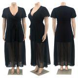 Claret Urban casual V-neck chiffon solid color plus size women's dress