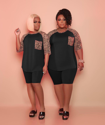 Black Casual suit fashion leopard stitching