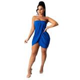Bule Solid color sexy wrap chest slit dress