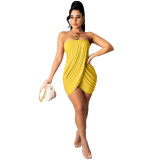 Yellow Solid color sexy wrap chest slit dress