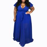 Dark bule Urban casual V-neck chiffon solid color plus size women's dress