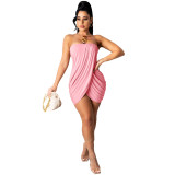 Pink Solid color sexy wrap chest slit dress