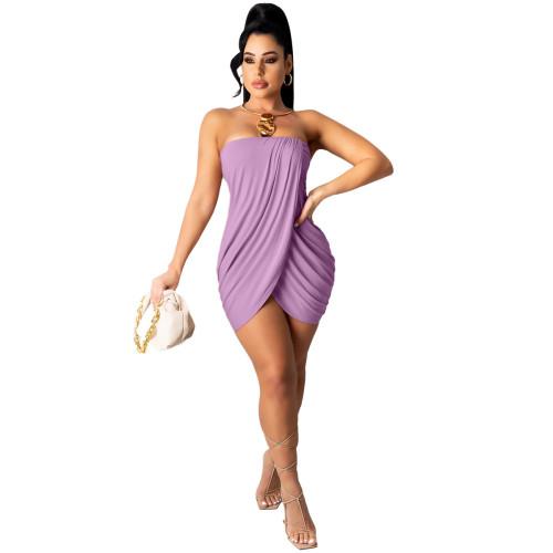 Violet Solid color sexy wrap chest slit dress