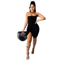 Black Solid color sexy wrap chest slit dress