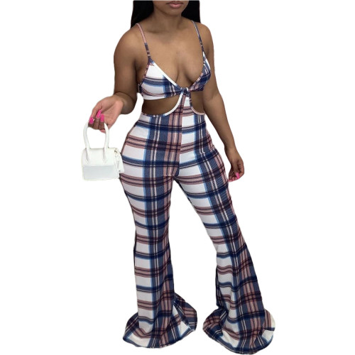 Fashion sexy plaid suspender jumpsuit