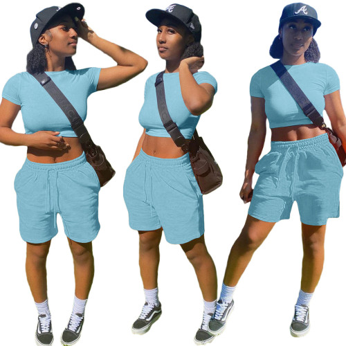 Sky blue    Fashion solid color pocket sports and leisure suit 8 color T-shirt casual women's clothing
