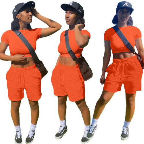 Orange     Fashion solid color pocket sports and leisure suit 8 color T-shirt casual women's clothing