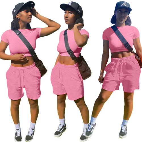 Pink     Fashion solid color pocket sports and leisure suit 8 color T-shirt casual women's clothing