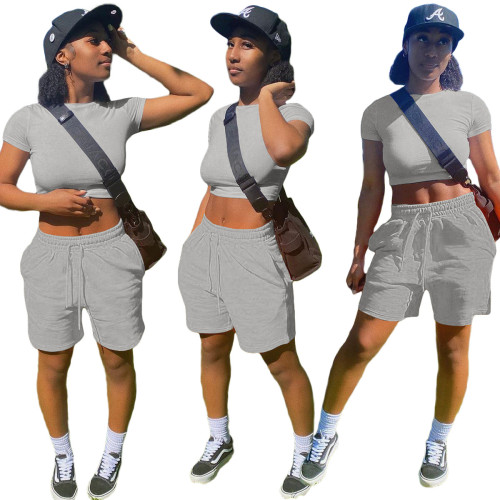 Gray  Fashion solid color pocket sports and leisure suit 8 color T-shirt casual women's clothing