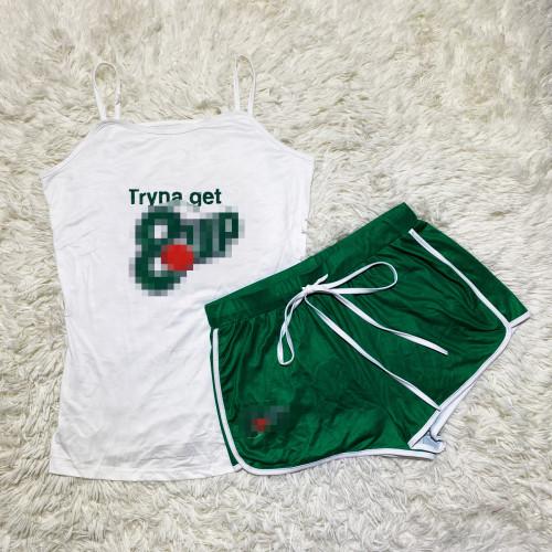 Green    Sexy graphic print suspender shorts suit yoga pants suit