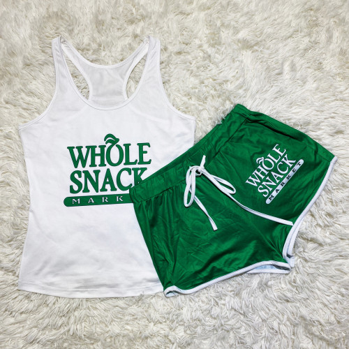 White and green vest    Sexy graphic print suspender shorts suit yoga pants suit