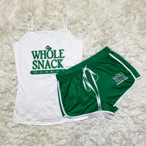 White and green    Sexy graphic print suspender shorts suit yoga pants suit