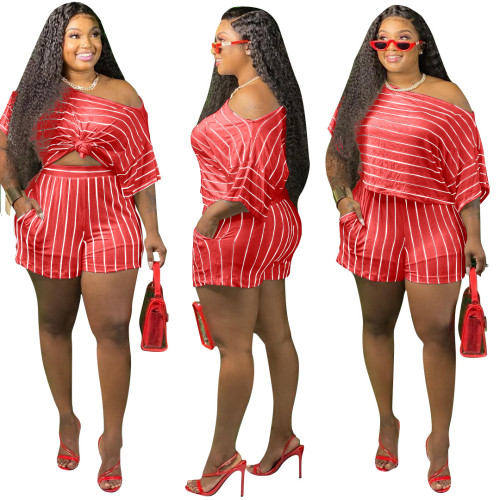 Red Fashion striped two-piece suit