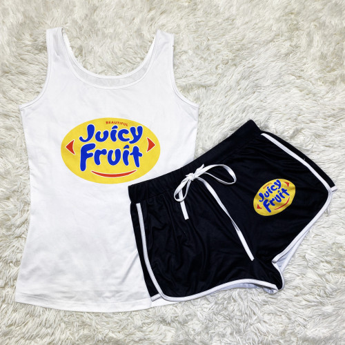 Black, white and yellow   Sexy graphic print suspender shorts suit yoga pants suit