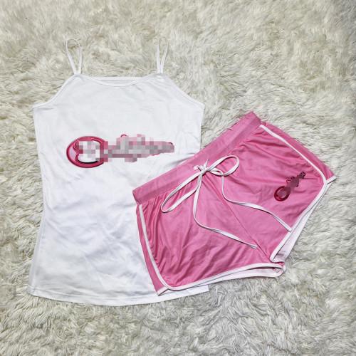 Pink  Sexy graphic print suspender shorts suit yoga pants suit