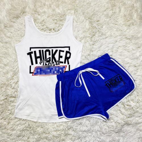 Blue letters Sexy graphic print suspender shorts suit yoga pants suit