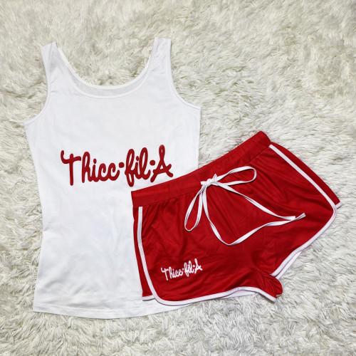 Red letters  Sexy graphic print suspender shorts suit yoga pants suit