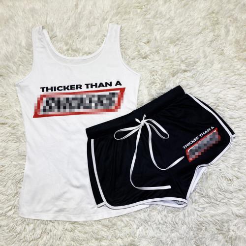 Black letters Sexy graphic print suspender shorts suit yoga pants suit
