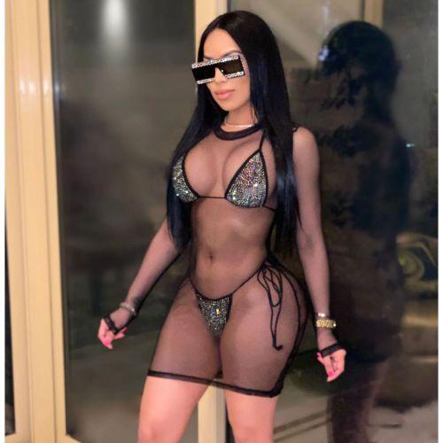 Black  Three-piece Ladies' Rhinestone Bikini Mesh Blouse