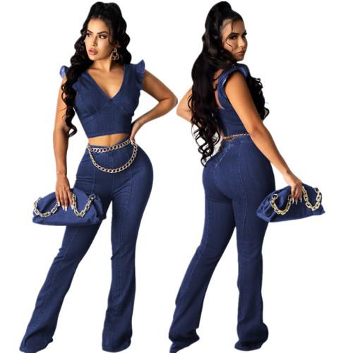 Navy blue   Women's high elastic imitation denim V-neck petal sleeve flared trousers suit