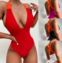 Red  Sexy bikini with solid color strap one-piece swimsuit
