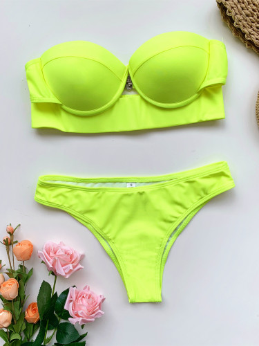 Fluorescent green  Swimsuit Hard Pack European and American Swimsuit Pure Color Ladies Swimwear