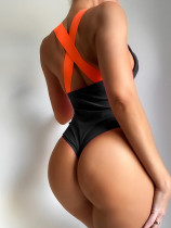 Black  bikini with solid color strap one-piece swimsuit