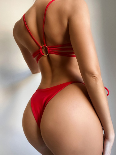 Red  Sexy solid color strappy swimsuit
