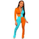 Orange Two-piece casual sports women's suit