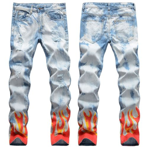 Light-colored ripped flame digital graffiti print jeans hip-hop slim-fit small straight-leg jeans