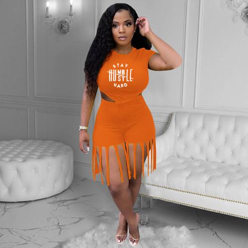 Orange Letter Offset Printing Tassel Fashion Sports Slim 2-Piece Set