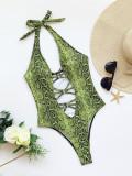 One-Piece Swimsuit Snake Pattern Bikini Printed Swimsuit European and American Women's Swimwear Band Bikini