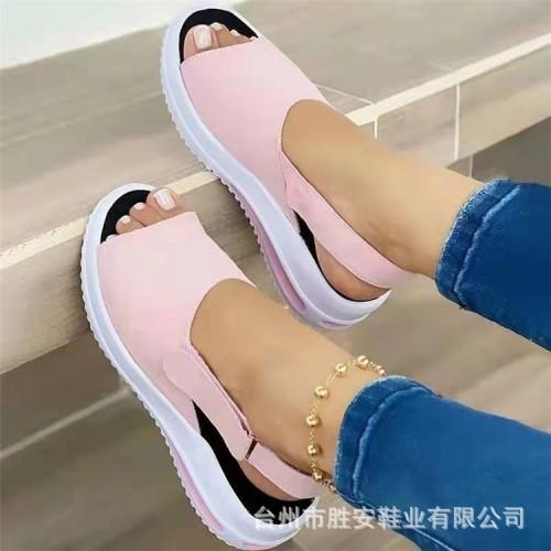Fish-mouth flat-heel beach low-top women's sandals