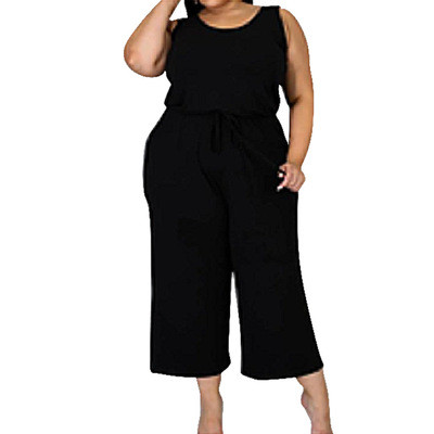 Large size new solid color suspender sleeveless jumpsuit