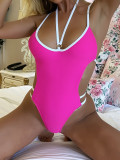 One-piece swimsuit solid color swimsuit women's color matching swimsuit beach bikini