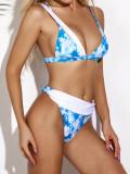 Printed swimsuit tie-dye bikini triangle bag swimsuit women's swimwear bikini