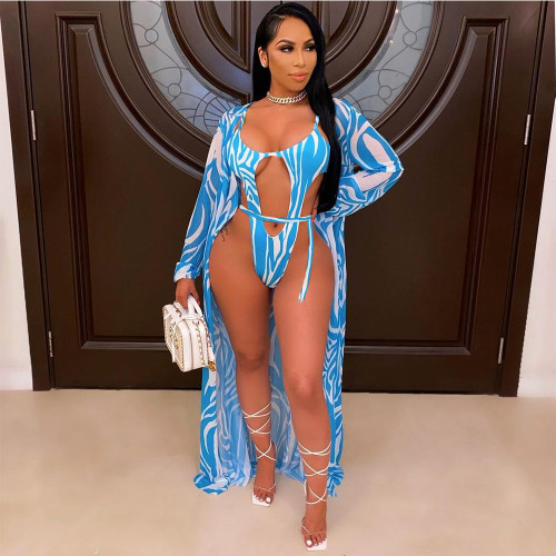 Bule Sexy Fashion Ladies Printed Cloak Swimsuit 2 Piece Set