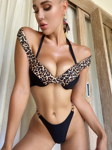 Black Leopard print bikini solid color stitching swimsuit women's swimwear