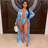 Sexy Fashion Ladies Printed Cloak Swimsuit 2 Piece Set