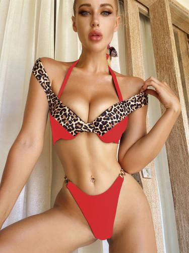 Leopard print bikini solid color stitching swimsuit women's swimwear
