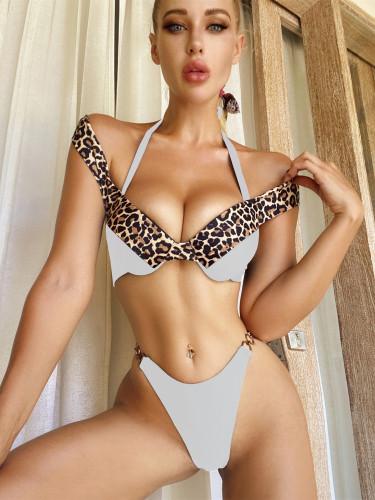 White Leopard print bikini solid color stitching swimsuit women's swimwear