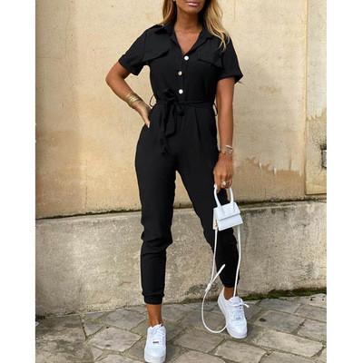 Black Women's casual lapel print belt overalls