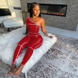 Rose red Slant shoulder trousers fashion sports suit solid color stretch slim two-piece women