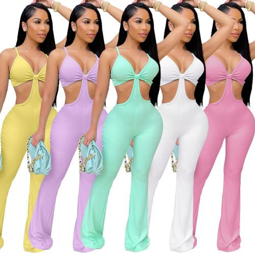 Pink Nightclub sexy eye-net jumpsuit stretch slim fit flared jumpsuit