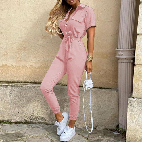 Pink Women's casual lapel print belt overalls