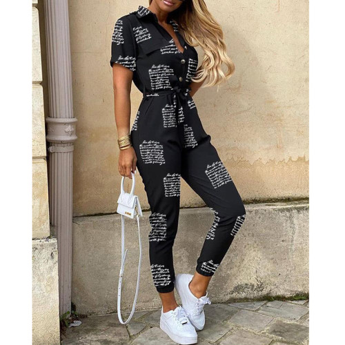 Letter Women's casual lapel print belt overalls
