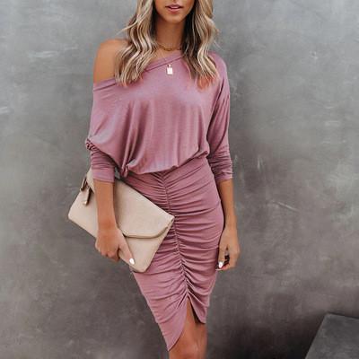 Pink 2021 new long-sleeved round neck bag hip fold sexy irregular dress women