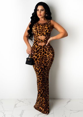 Leopard Stretch snake print leopard print dress