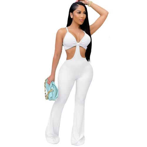 White Nightclub sexy eye-net jumpsuit stretch slim fit flared jumpsuit