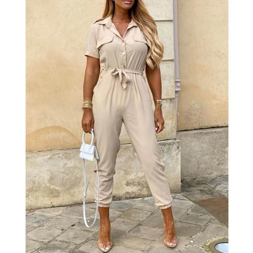 Beige Women's casual lapel print belt overalls